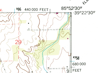 Reduced fragment of topographic map en--usgs--024k--013686--(1961)--N039-22-30_W086-00-00--N039-15-00_W085-52-30; towns and cities Edinburgh, Taylorsville