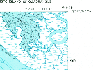 Reduced fragment of topographic map en--usgs--024k--013691--(1960)--N032-37-30_W080-22-30--N032-30-00_W080-15-00