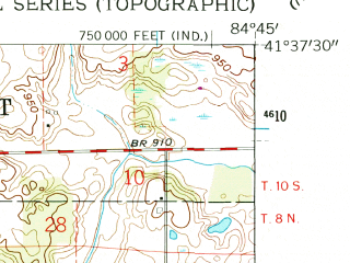 Reduced fragment of topographic map en--usgs--024k--013718--(1961)--N041-37-30_W084-52-30--N041-30-00_W084-45-00; towns and cities Edon