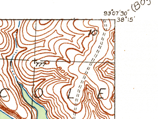 Reduced fragment of topographic map en--usgs--024k--013726--(1935)--N038-15-00_W093-15-00--N038-07-30_W093-07-30