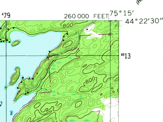 Reduced fragment of topographic map en--usgs--024k--013728--(1956)--N044-22-30_W075-22-30--N044-15-00_W075-15-00; towns and cities Edwards