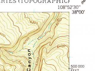 Reduced fragment of topographic map en--usgs--024k--013759--(1949)--N038-00-00_W109-00-00--N037-52-30_W108-52-30