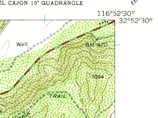 Reduced fragment of topographic map en--usgs--024k--013784--(1955)--N032-52-30_W117-00-00--N032-45-00_W116-52-30; towns and cities Santee, El Cajon, Lakeside, Bostonia, Granite Hills