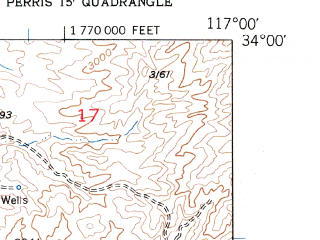Reduced fragment of topographic map en--usgs--024k--013790--(1953)--N034-00-00_W117-07-30--N033-52-30_W117-00-00; towns and cities Calimesa