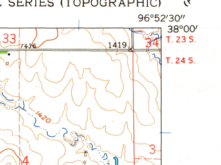 Reduced fragment of topographic map en--usgs--024k--013798--(1961)--N038-00-00_W097-00-00--N037-52-30_W096-52-30