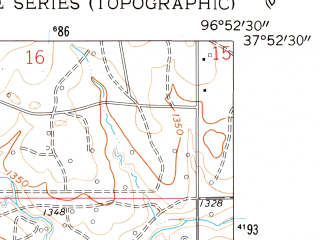 Reduced fragment of topographic map en--usgs--024k--013801--(1961)--N037-52-30_W097-00-00--N037-45-00_W096-52-30; towns and cities Towanda
