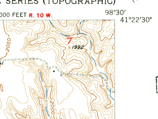 Reduced fragment of topographic map en--usgs--024k--013841--(1953)--N041-22-30_W098-37-30--N041-15-00_W098-30-00; towns and cities Elba