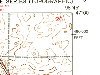 Reduced fragment of topographic map en--usgs--024k--013885--(1952)--N047-00-00_W098-52-30--N046-52-30_W098-45-00 in area of Pipestem Lake