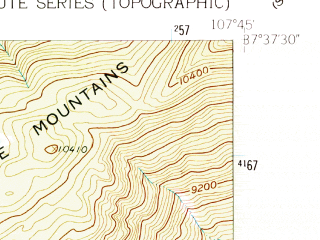 Reduced fragment of topographic map en--usgs--024k--013892--(1960)--N037-37-30_W107-52-30--N037-30-00_W107-45-00 in area of Electra Lake