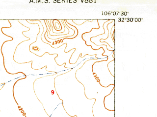 Reduced fragment of topographic map en--usgs--024k--013907--(1948)--N032-30-00_W106-15-00--N032-22-30_W106-07-30