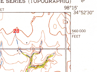 Reduced fragment of topographic map en--usgs--024k--013928--(1949)--N034-52-30_W098-22-30--N034-45-00_W098-15-00; towns and cities Elgin