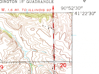 Reduced fragment of topographic map en--usgs--024k--013944--(1953)--N041-22-30_W091-00-00--N041-15-00_W090-52-30