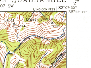 Reduced fragment of topographic map en--usgs--024k--013956--(1938)--N036-22-30_W082-15-00--N036-15-00_W082-07-30; towns and cities Elizabethton
