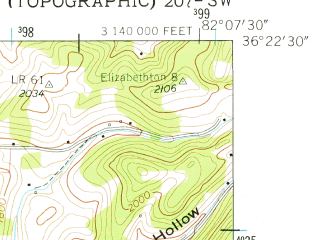 Reduced fragment of topographic map en--usgs--024k--013956--(1959)--N036-22-30_W082-15-00--N036-15-00_W082-07-30; towns and cities Elizabethton