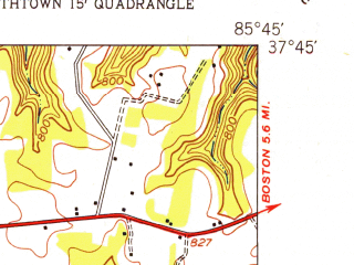 Reduced fragment of topographic map en--usgs--024k--013958--(1949)--N037-45-00_W085-52-30--N037-37-30_W085-45-00; towns and cities Elizabethtown