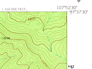 Reduced fragment of topographic map en--usgs--024k--013979--(1960)--N037-37-30_W108-00-00--N037-30-00_W107-52-30