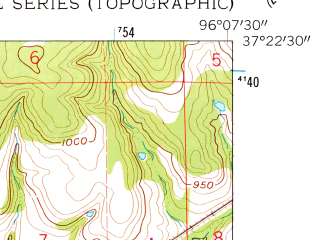 Reduced fragment of topographic map en--usgs--024k--013986--(1962)--N037-22-30_W096-15-00--N037-15-00_W096-07-30; towns and cities Elk Falls