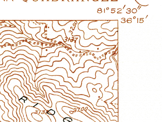 Reduced fragment of topographic map en--usgs--024k--014004--(1934)--N036-15-00_W082-00-00--N036-07-30_W081-52-30; towns and cities Beech Mountain, Elk Park