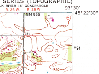 Reduced fragment of topographic map en--usgs--024k--014013--(1961)--N045-22-30_W093-37-30--N045-15-00_W093-30-00; towns and cities Elk River