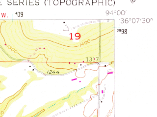 Reduced fragment of topographic map en--usgs--024k--014054--(1958)--N036-07-30_W094-07-30--N036-00-00_W094-00-00; towns and cities Elkins, Goshen