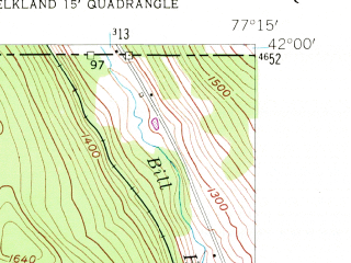 Reduced fragment of topographic map en--usgs--024k--014058--(1954)--N042-00-00_W077-22-30--N041-52-30_W077-15-00; towns and cities Elkland