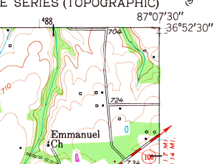 Reduced fragment of topographic map en--usgs--024k--014067--(1951)--N036-52-30_W087-15-00--N036-45-00_W087-07-30; towns and cities Elkton