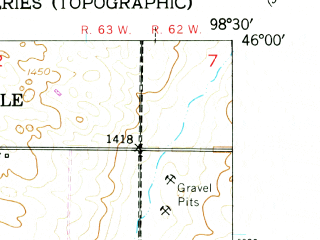 Reduced fragment of topographic map en--usgs--024k--014094--(1953)--N046-00-00_W098-37-30--N045-52-30_W098-30-00