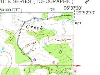 Reduced fragment of topographic map en--usgs--024k--014106--(1957)--N029-52-30_W096-45-00--N029-45-00_W096-37-30