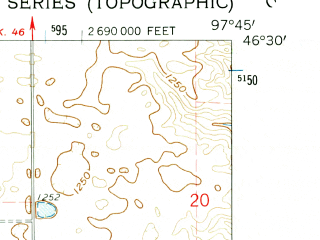 Reduced fragment of topographic map en--usgs--024k--014116--(1962)--N046-30-00_W097-52-30--N046-22-30_W097-45-00; towns and cities Elliott