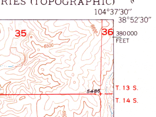 Reduced fragment of topographic map en--usgs--024k--014226--(1950)--N038-52-30_W104-45-00--N038-45-00_W104-37-30; towns and cities Cimarron Hills