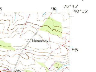 Reduced fragment of topographic map en--usgs--024k--014233--(1956)--N040-15-00_W075-52-30--N040-07-30_W075-45-00; towns and cities Elverson