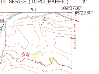 Reduced fragment of topographic map en--usgs--024k--014270--(1956)--N045-22-30_W109-45-00--N045-15-00_W109-37-30