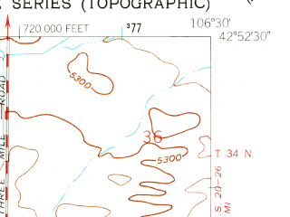 Reduced fragment of topographic map en--usgs--024k--014296--(1960)--N042-52-30_W106-37-30--N042-45-00_W106-30-00