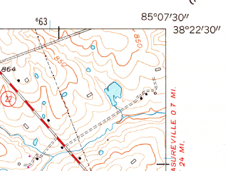 Reduced fragment of topographic map en--usgs--024k--014310--(1954)--N038-22-30_W085-15-00--N038-15-00_W085-07-30; towns and cities Eminence
