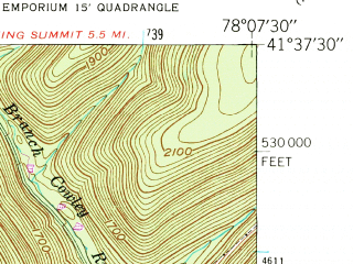 Reduced fragment of topographic map en--usgs--024k--014350--(1948)--N041-37-30_W078-15-00--N041-30-00_W078-07-30; towns and cities Emporium