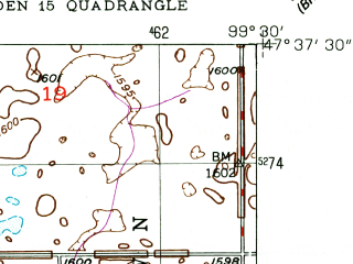 Reduced fragment of topographic map en--usgs--024k--014351--(1949)--N047-37-30_W099-37-30--N047-30-00_W099-30-00