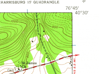 Reduced fragment of topographic map en--usgs--024k--014367--(1947)--N040-30-00_W076-52-30--N040-22-30_W076-45-00