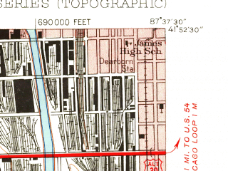 Reduced fragment of topographic map en--usgs--024k--014389--(1953)--N041-52-30_W087-45-00--N041-45-00_W087-37-30; towns and cities Chicago