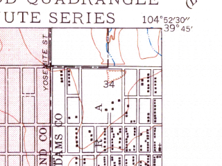 Reduced fragment of topographic map en--usgs--024k--014394--(1950)--N039-45-00_W105-00-00--N039-37-30_W104-52-30; towns and cities Englewood, Cherry Hills Village, Glendale
