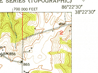 Reduced fragment of topographic map en--usgs--024k--014396--(1950)--N038-22-30_W086-30-00--N038-15-00_W086-22-30; towns and cities English