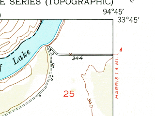 Reduced fragment of topographic map en--usgs--024k--014397--(1951)--N033-45-00_W094-52-30--N033-37-30_W094-45-00