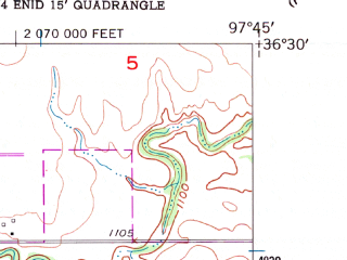 Reduced fragment of topographic map en--usgs--024k--014405--(1955)--N036-30-00_W097-52-30--N036-22-30_W097-45-00; towns and cities Enid, North Enid