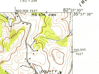 Reduced fragment of topographic map en--usgs--024k--014410--(1941)--N035-37-30_W082-45-00--N035-30-00_W082-37-30