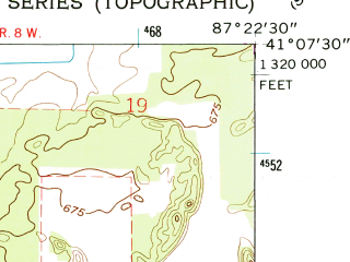 Reduced fragment of topographic map en--usgs--024k--014427--(1962)--N041-07-30_W087-30-00--N041-00-00_W087-22-30