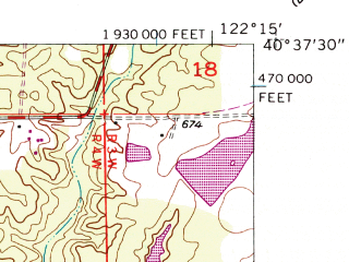 Reduced fragment of topographic map en--usgs--024k--014439--(1957)--N040-37-30_W122-22-30--N040-30-00_W122-15-00; towns and cities Redding