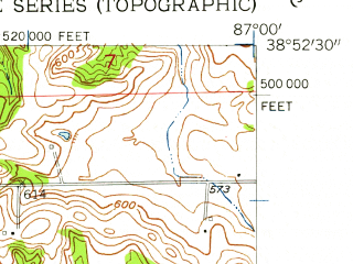 Reduced fragment of topographic map en--usgs--024k--014470--(1957)--N038-52-30_W087-07-30--N038-45-00_W087-00-00