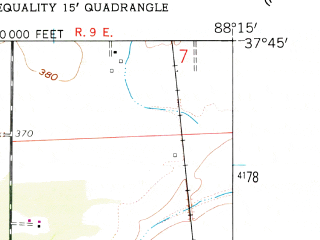 Reduced fragment of topographic map en--usgs--024k--014477--(1959)--N037-45-00_W088-22-30--N037-37-30_W088-15-00; towns and cities Equality