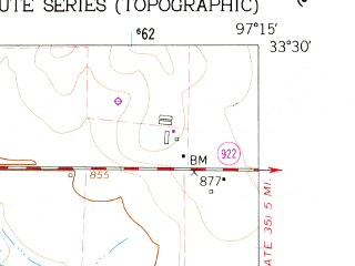 Reduced fragment of topographic map en--usgs--024k--014479--(1961)--N033-30-00_W097-22-30--N033-22-30_W097-15-00