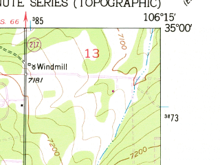Reduced fragment of topographic map en--usgs--024k--014525--(1954)--N035-00-00_W106-22-30--N034-52-30_W106-15-00
