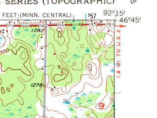 Reduced fragment of topographic map en--usgs--024k--014538--(1954)--N046-45-00_W092-22-30--N046-37-30_W092-15-00